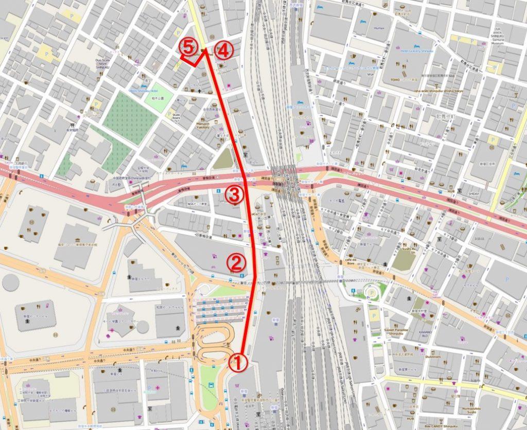 新宿営業所までの案内地図