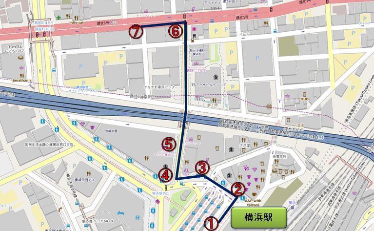 横浜営業所までの案内地図