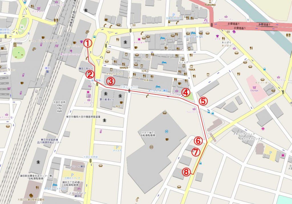 蒲田営業所案内地図
