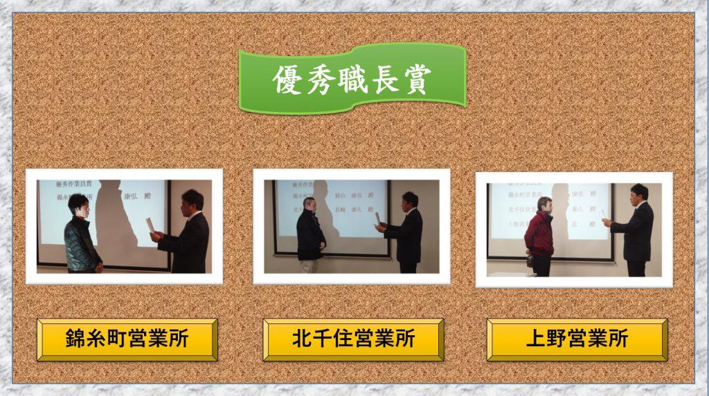 優秀職長賞を受賞の皆さんです。各営業所から1人が選ばれました。これからも安全作業で頑張ってください!